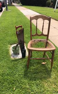 Saws, plant pots,  growler,   Antique  chair   And more