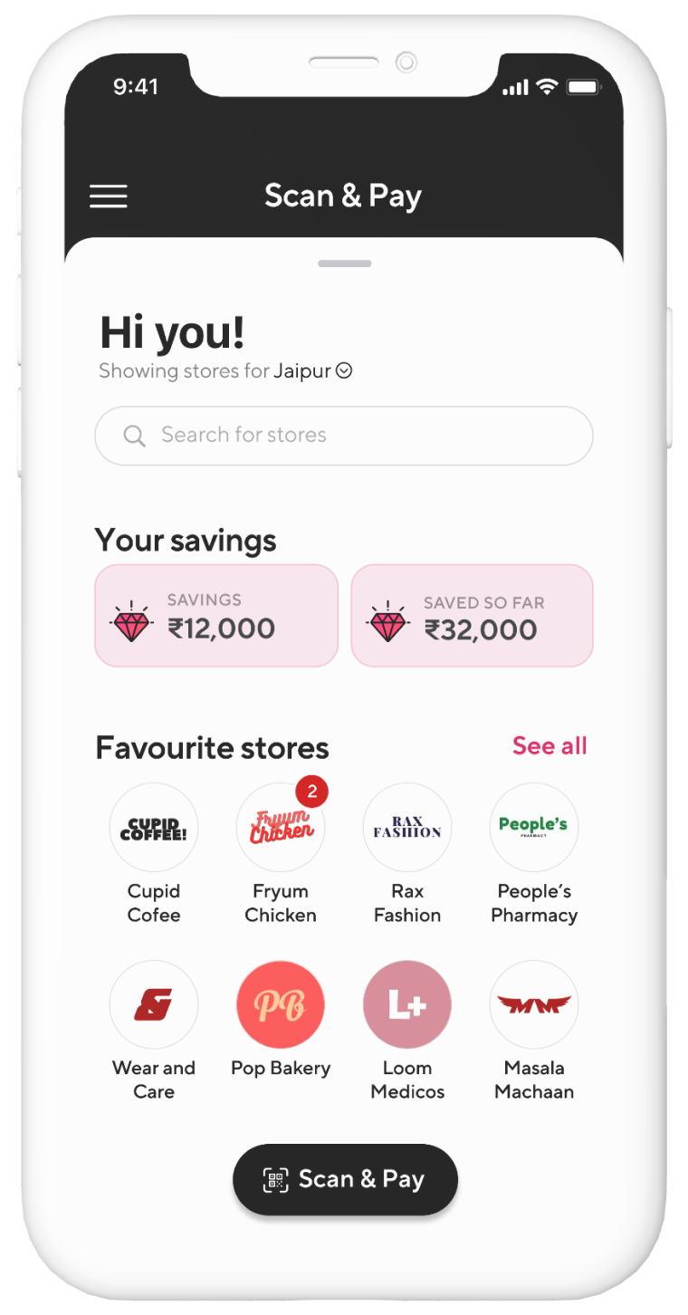 Fave India app home page with savings