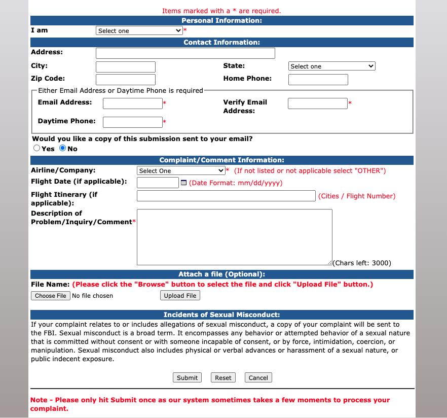 Department of Transportation Airline Complaint Form