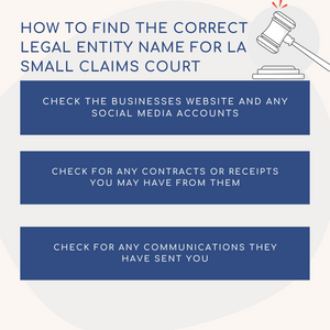 How to find the correct legal entity name for Los Angeles Small Claims Court