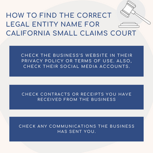 How to find the correct legal entity name for Orange County Small Claims Court