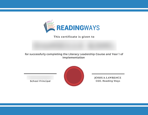 Reading Ways Coaching certificate