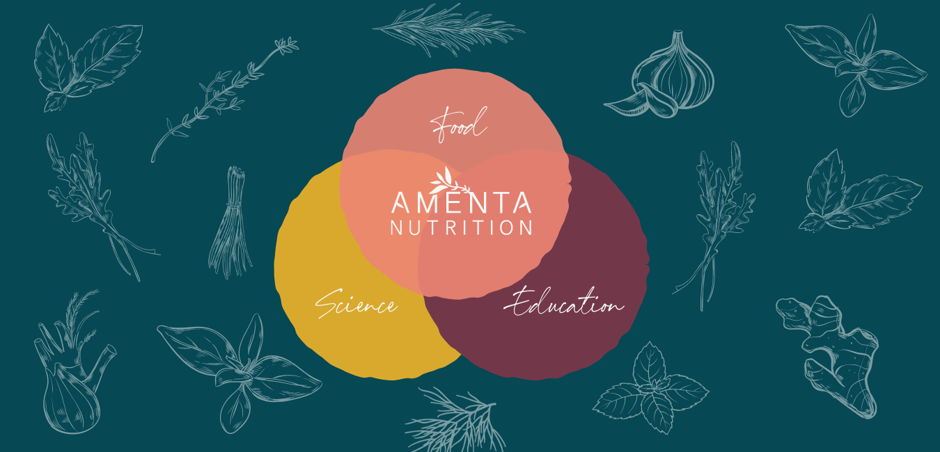 Venn diagram of 3 circles with Food, Science, Education becoming Amenta Nutriition