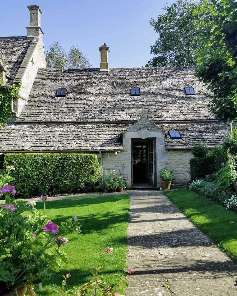 Cotswold house, backdoor, garden