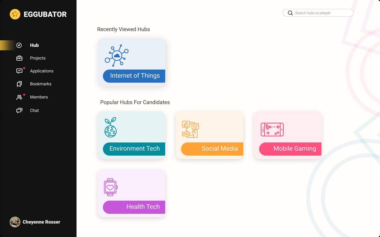 Image of Eggubator hub selector page.