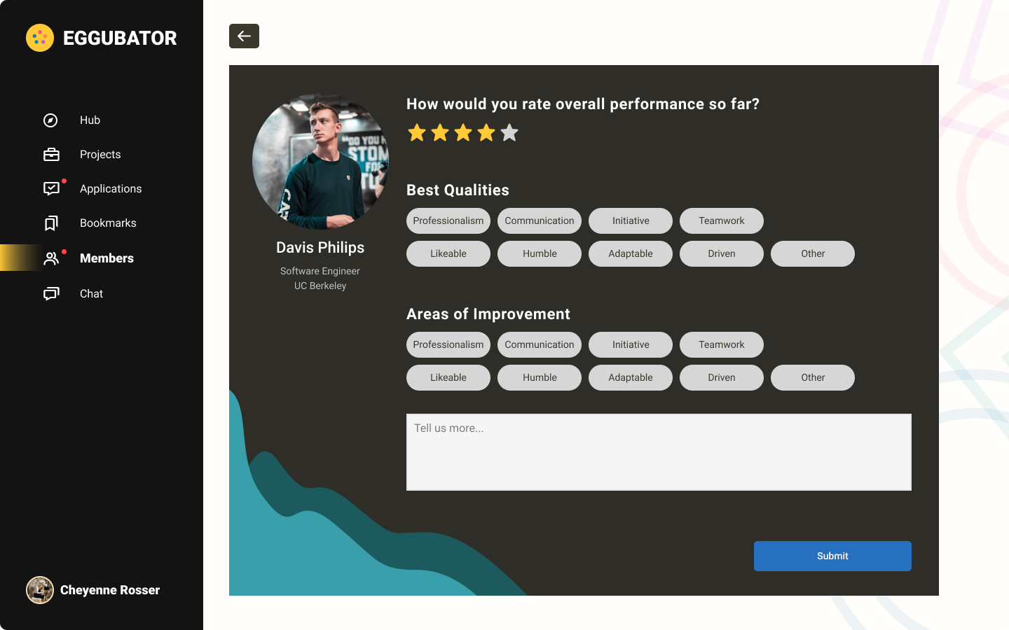 Image of feedback giving page with star rating, qualities selector, areas of improvement selector, and written description options.