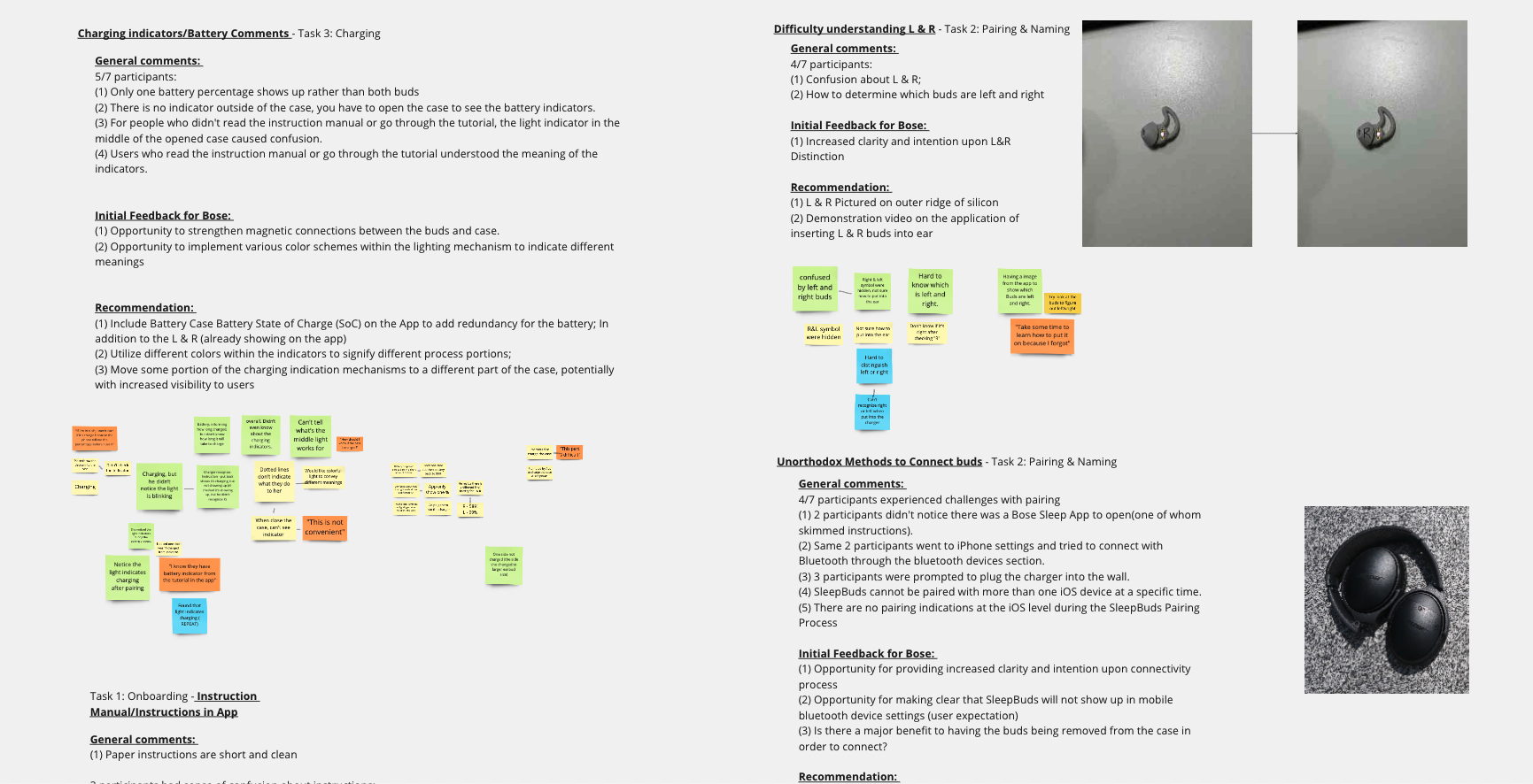 Notes from research, pictures of Bose devices, and post it notes.