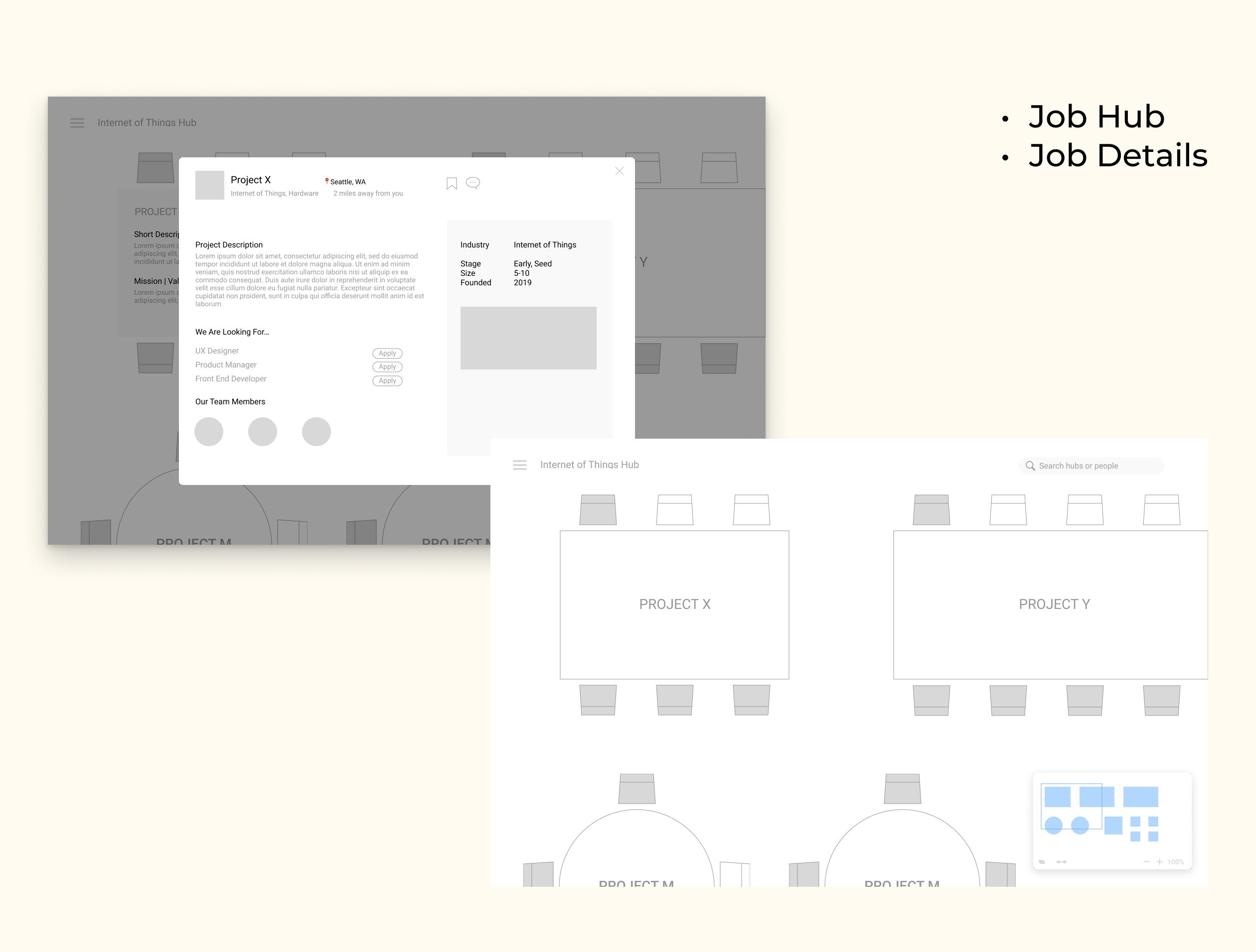 Medium-fidelity mockup of job hub feature and job details interaction.