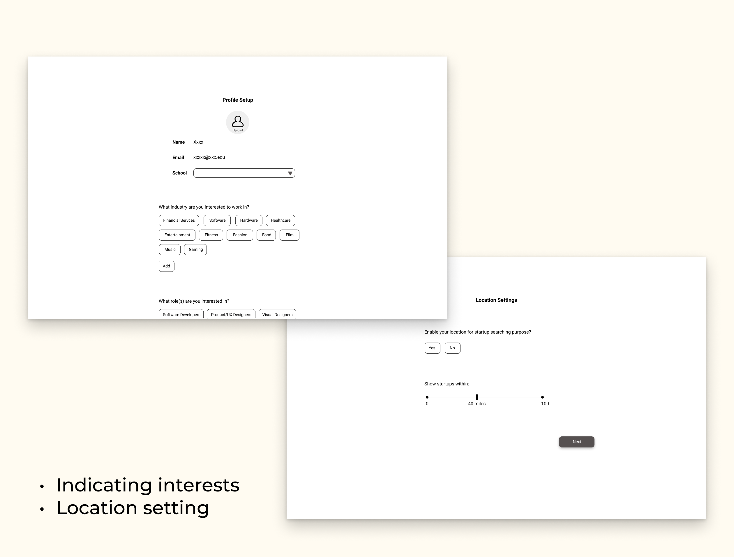Medium-fidelity mockups of onboarding where interests and location is gathered.