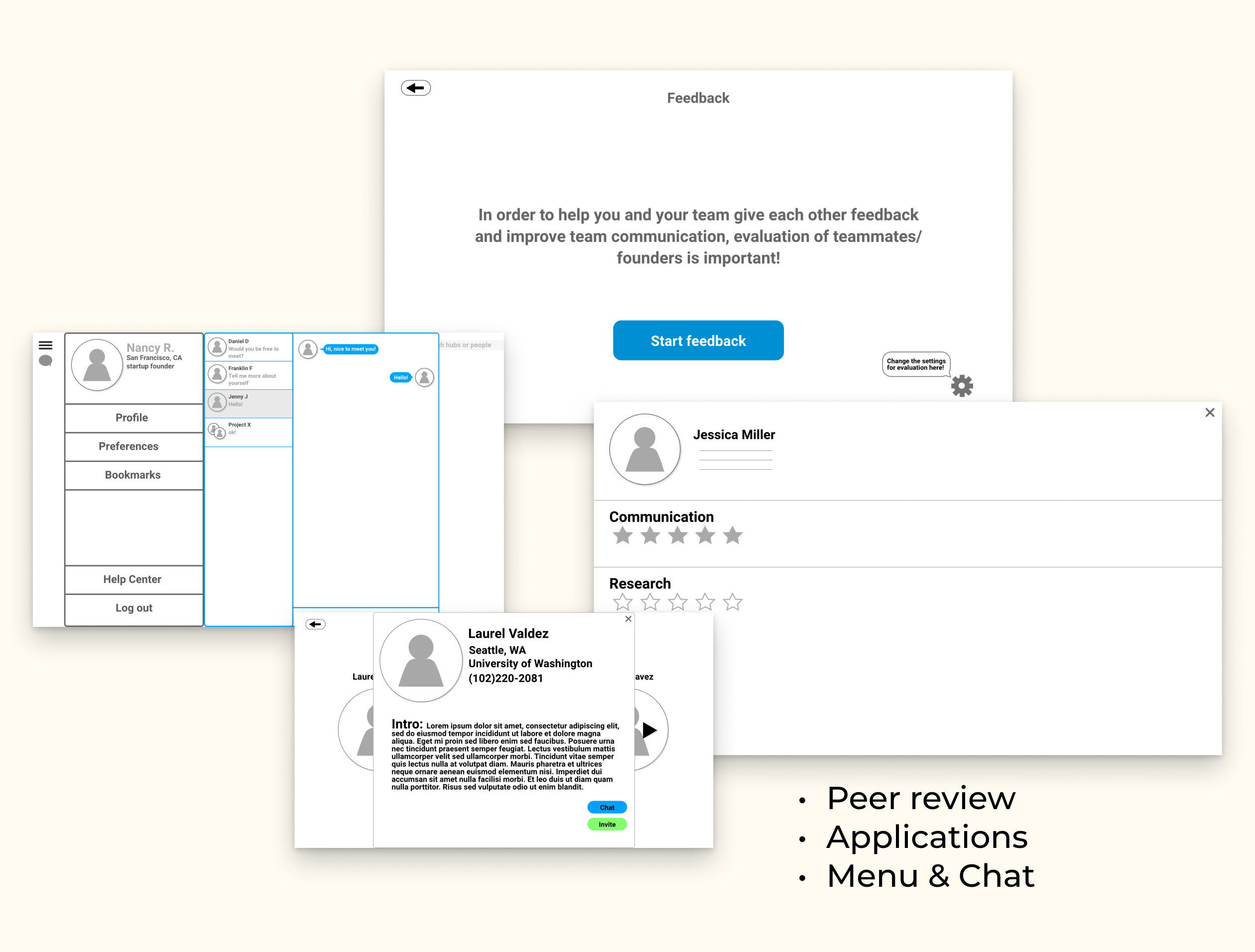 Medium-fidelity mock up of some key points in evaluation, menu and chat, and application review.