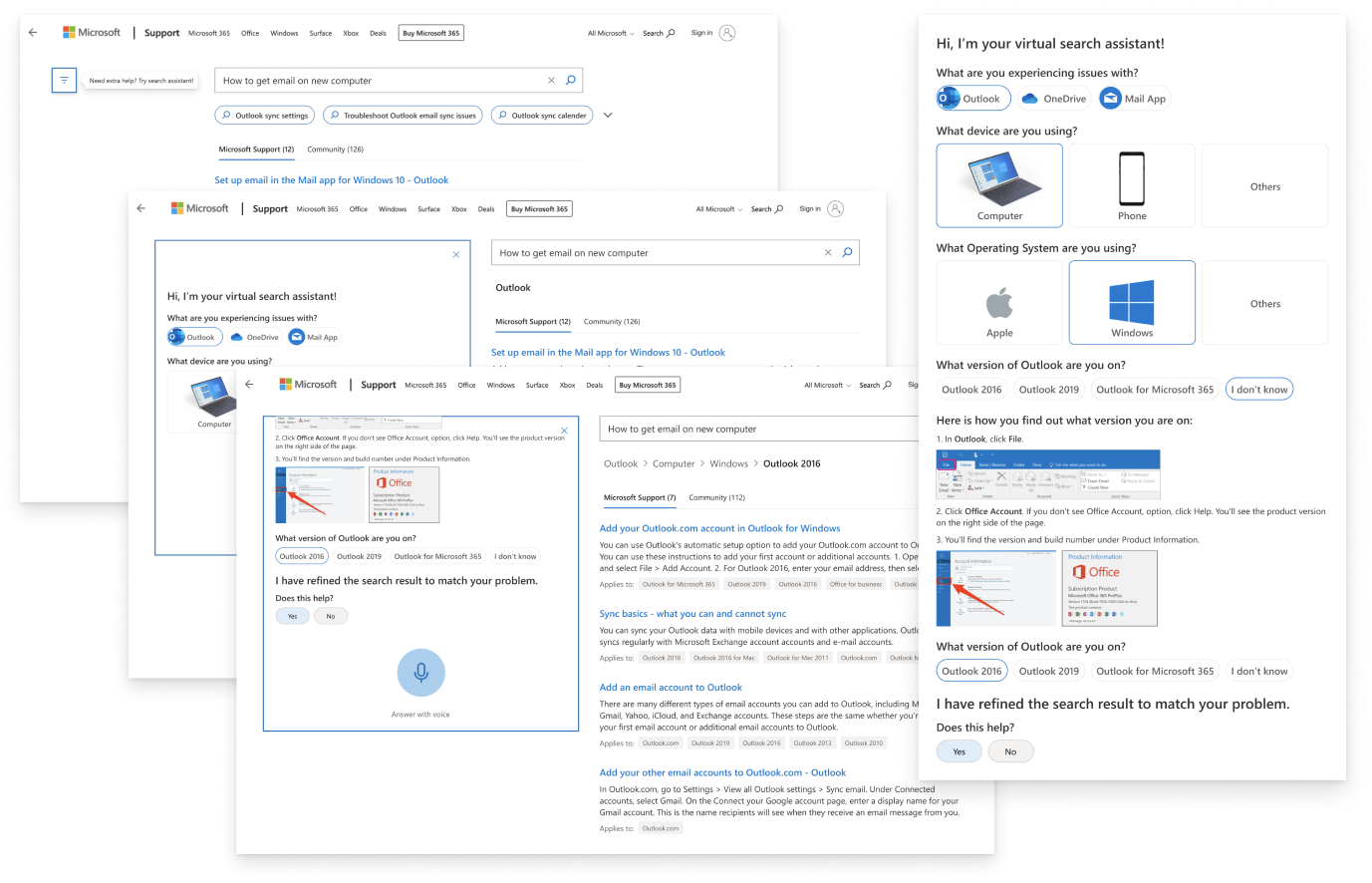 A compilation of the initial design of the search results page with the search assistant.