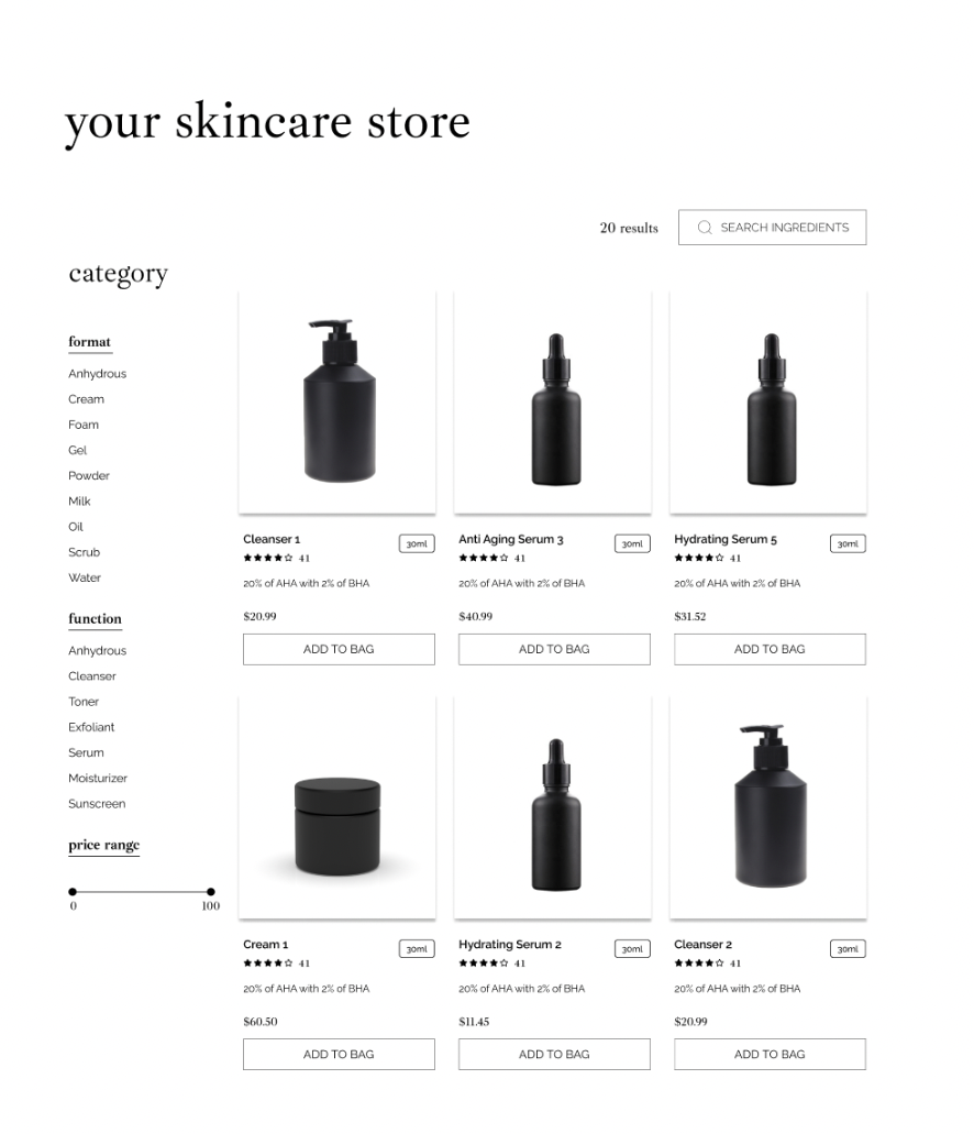 Screenshot of the Subjective Skin's unique online store
