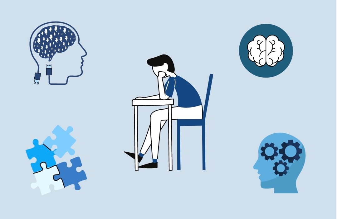 Boy in blue shirt studying at a desk surrounded by brain icons and puzzle icons