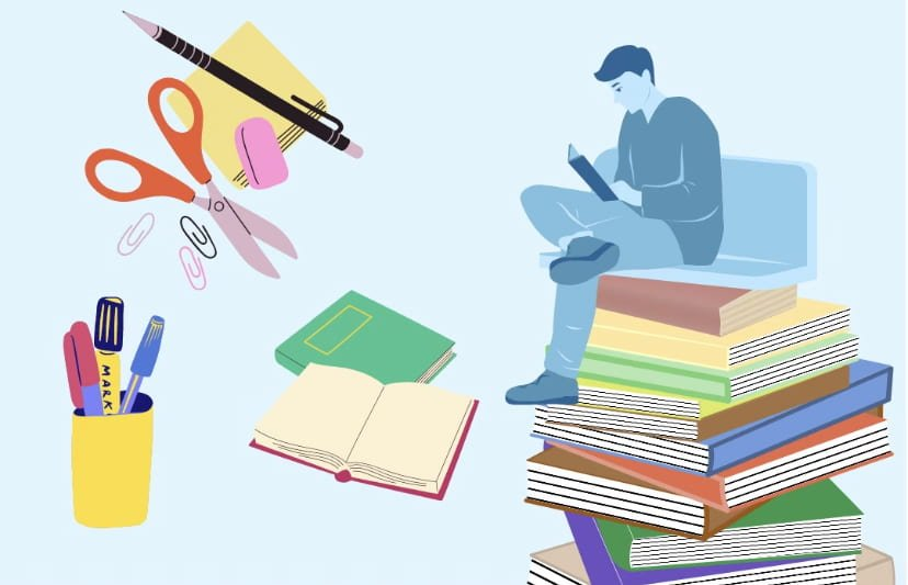 Person sitting on top of a stack of books