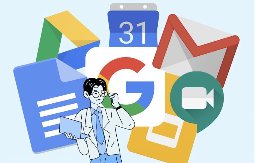 Person in front of google tool logos