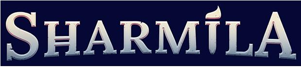 Sharmila logotype - the word Sharmila in a Egyptian style.