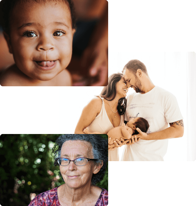 A happy baby, young parents and older woman