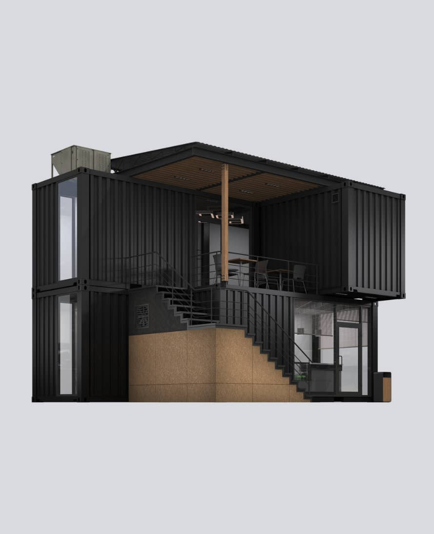 sea container home build from 5 containers