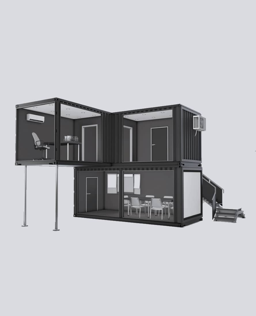 An office space build with 3  shipping containers