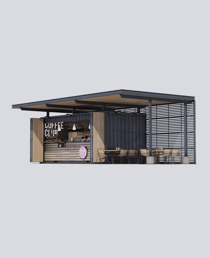 A coffee shop build from shipping containers