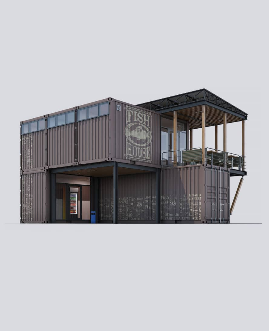A small store build from 5 shipping containers