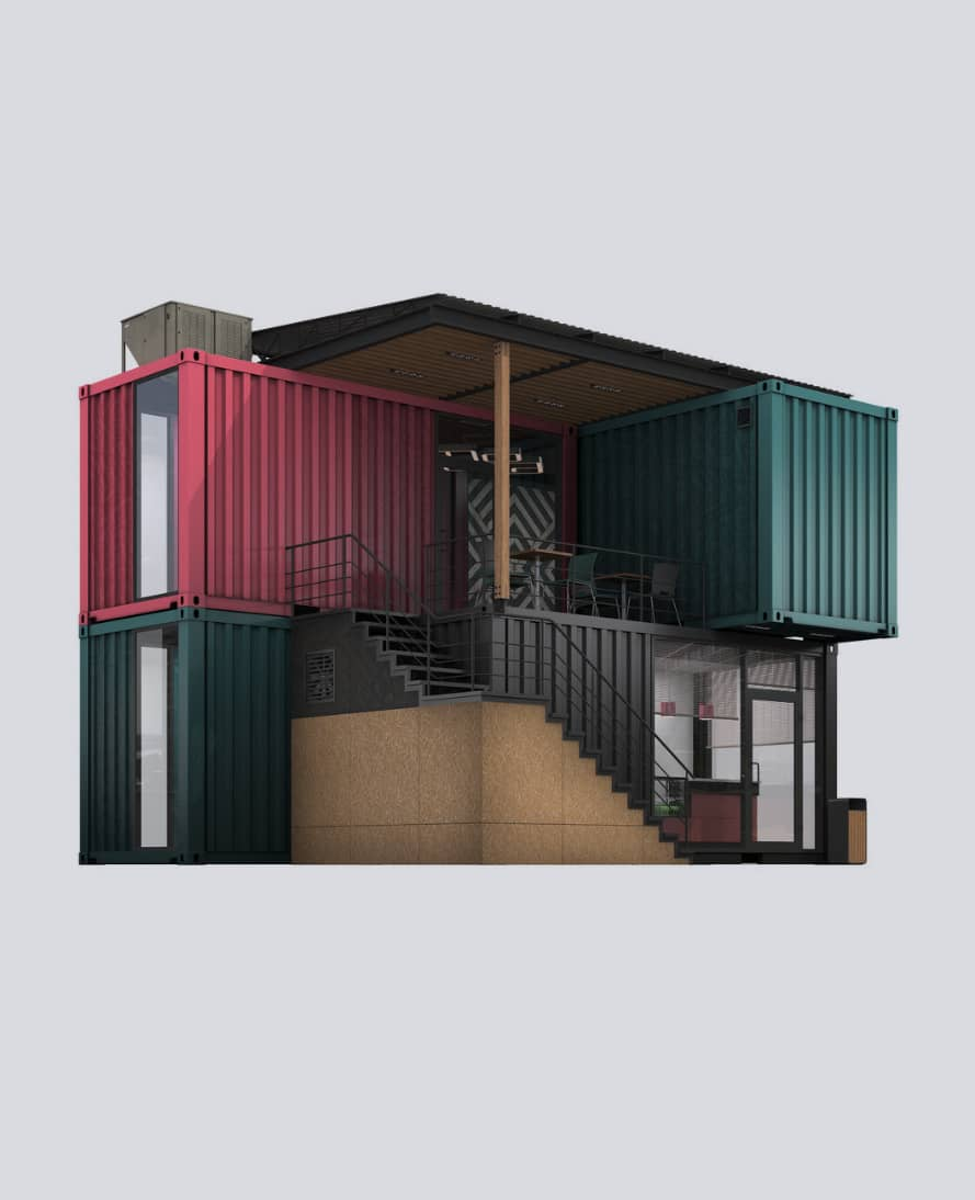 A restaurant build from 5 shipping containers