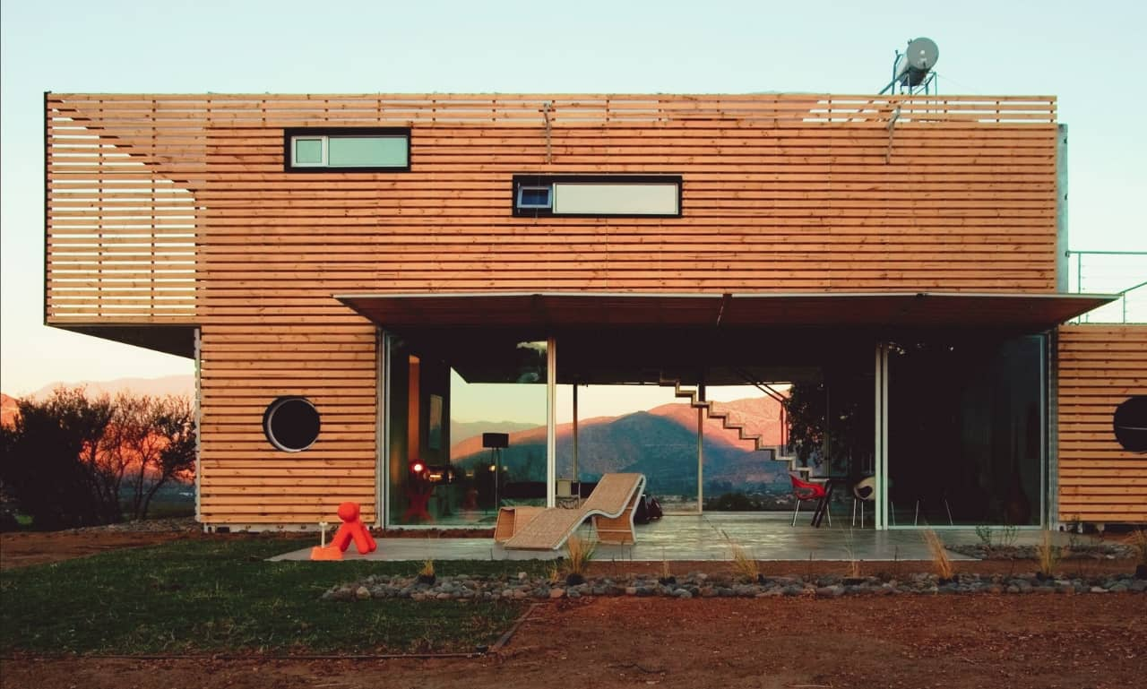 A modern house build from shipping containers
