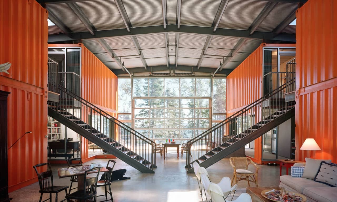 A depo with offices built from sea containers