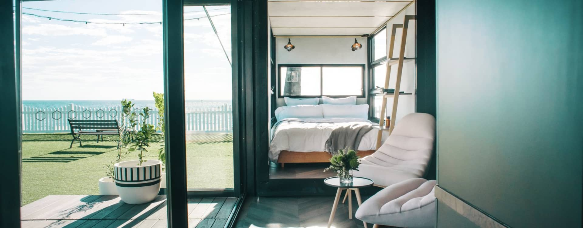 An interior design for a shipping container home