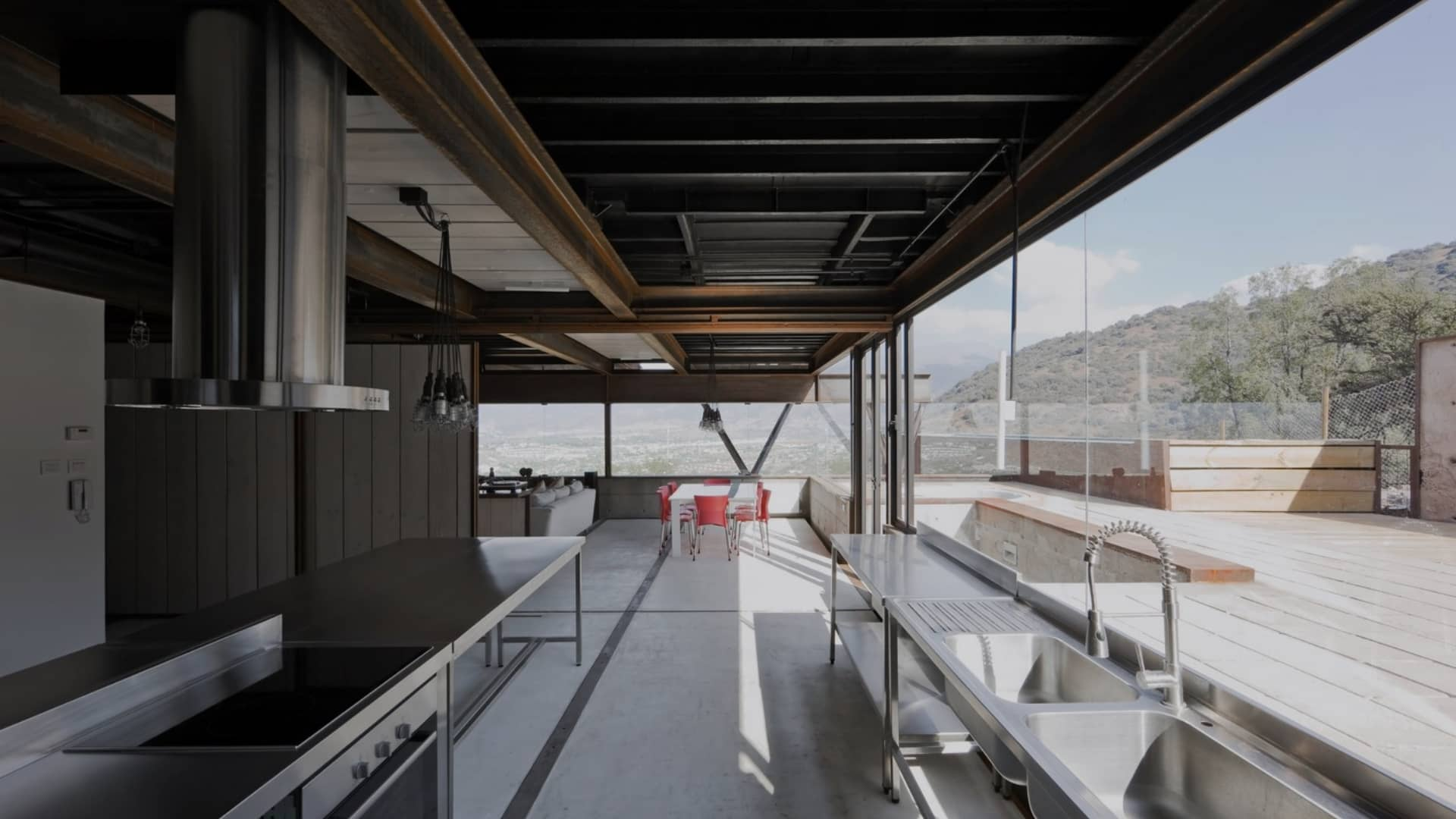 A modern kitchen build with shipping containers