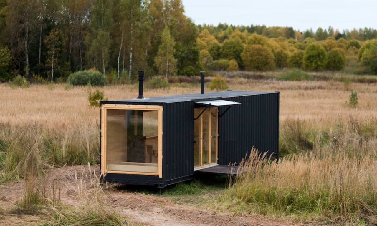 A small container house in woods