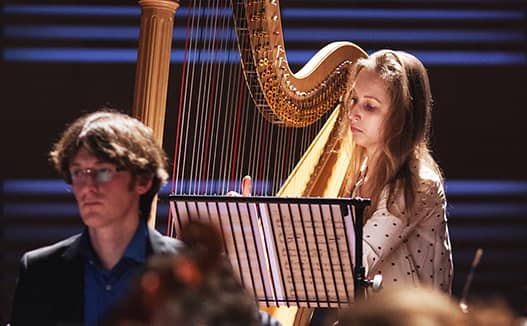 close up of dorien playing harp with musician on the left.