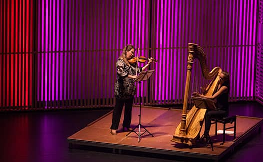 doriene playing harp on a red and purple lit stage with violinist.