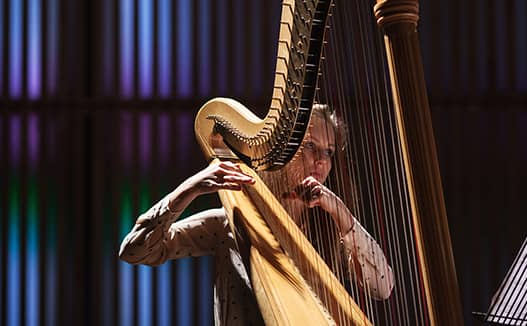 close up of doriene marselje playing harp on a blue and purple lite stage