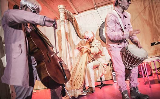 semi close up of 3 musicians in pink and white costumes playing cello bongos with dorience playing the harp in the middle.