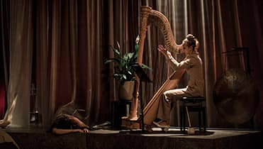 Doriene Marselje playing harp on a dimly lit stage in front of brown thick curtains.