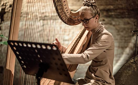 close up of doriene marselje playing harp in a profile view.