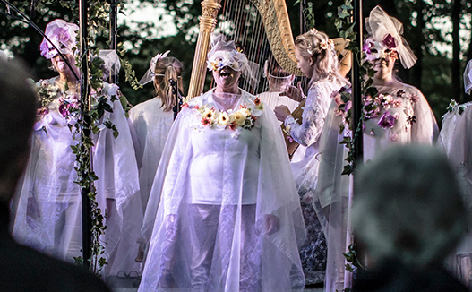 group of women dress in white and flowers hanging over them. Harp in the background.