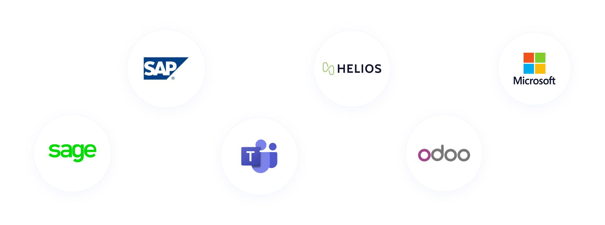 Logo des outils qui fonctionnent avec Oplit : SAP, Sage, Microsfot, Teams, Odoo, Helios.