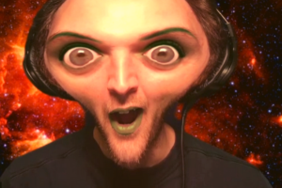 person with a alien filter making their eyes larger