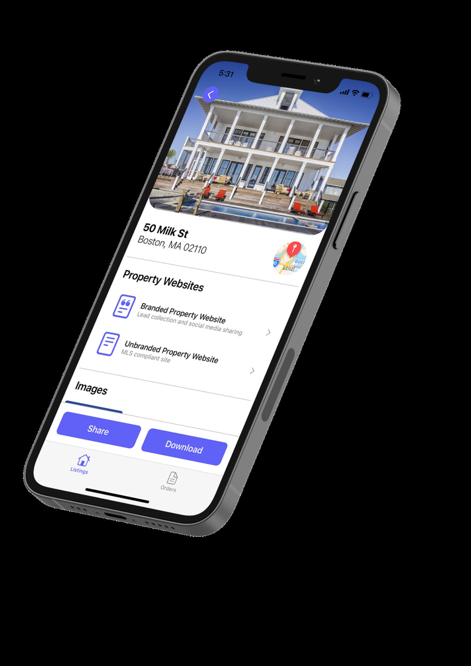 Aryeo mobile iOS listings app.