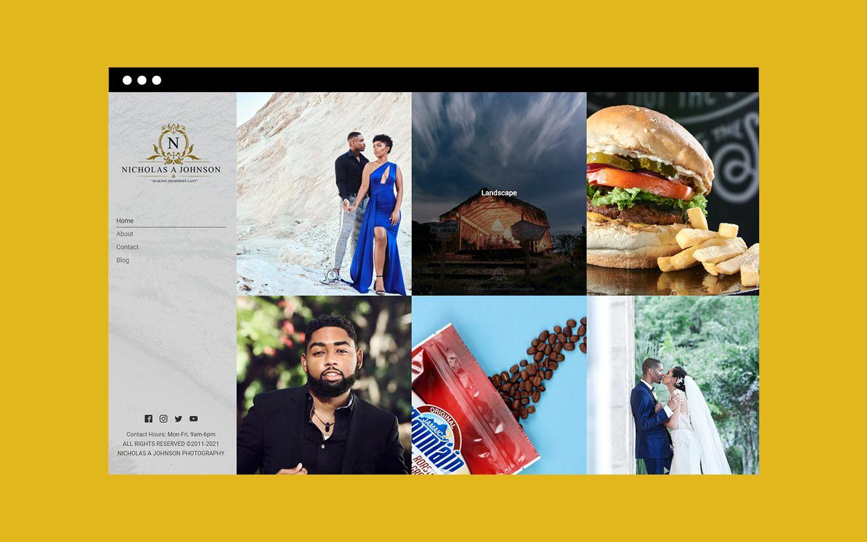 Nicholas A Johnson Photography website homepage