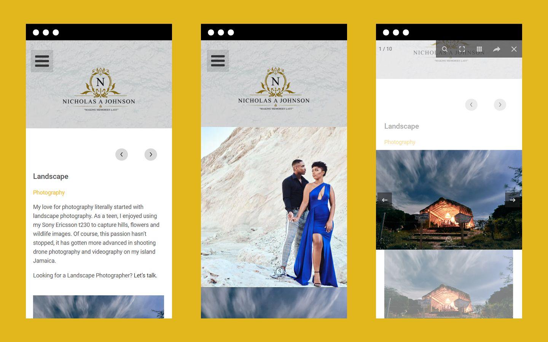 Nicholas A Johnson Photography website mobile