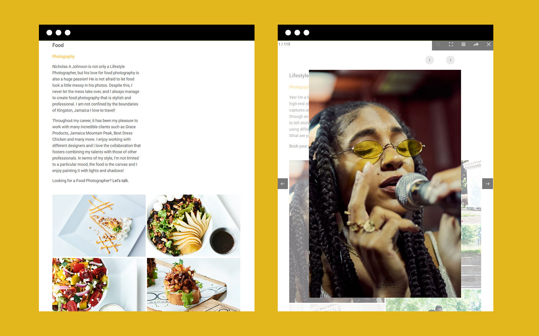 Nicholas A Johnson Photography website tablet
