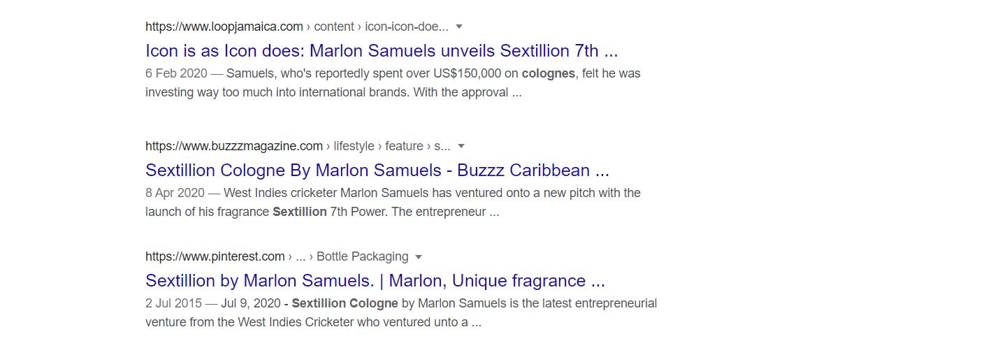 Google SERP for Marlon Samuels' Sextillion Cologne