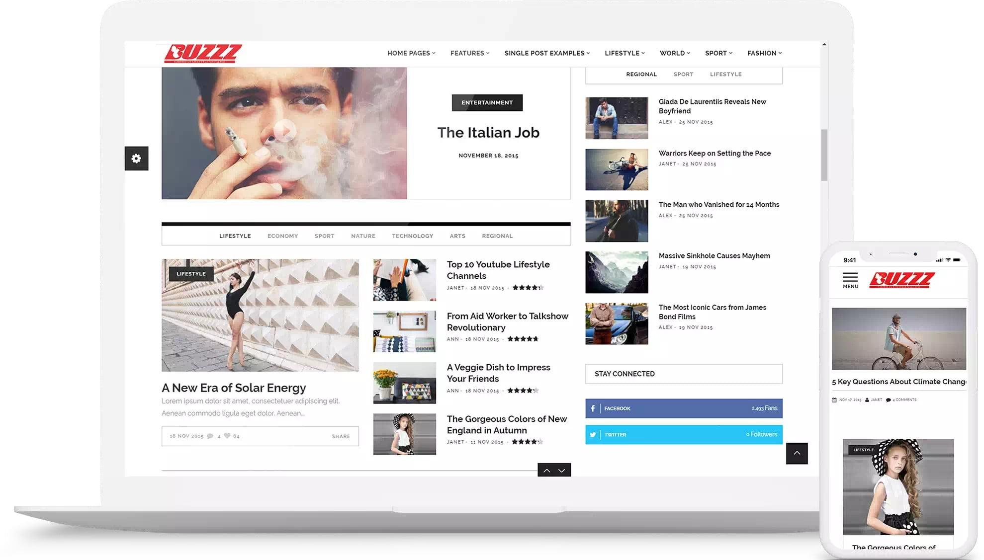 Mockup of Buzzz's old website theme