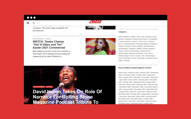 Screenshot of Buzzz's homepage