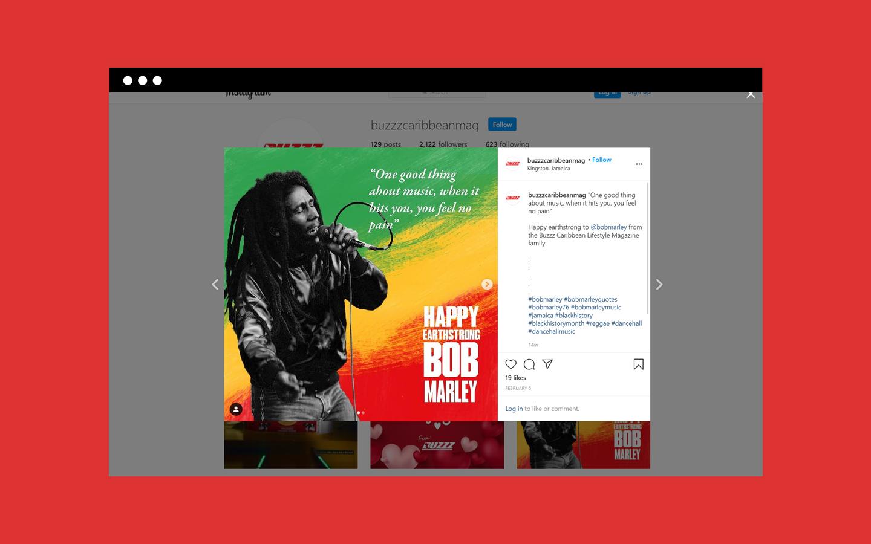 Instagram screenshot of a post featuring Bob Marley
