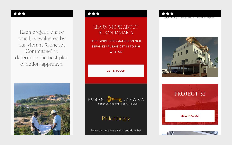 Mobile screenshots of Ruban Jamaica's website