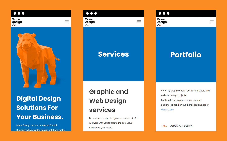 Mobile screenshots of Mane Design Ja's website